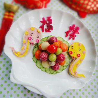 双龙戏珠蔬菜球
