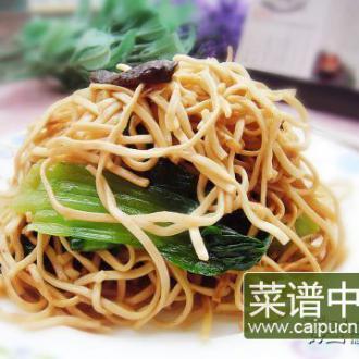 香菇油菜炒面