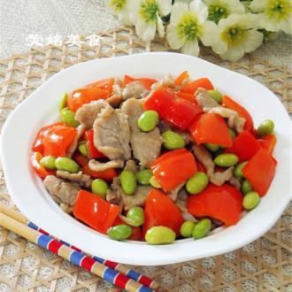 红椒毛豆炒肉