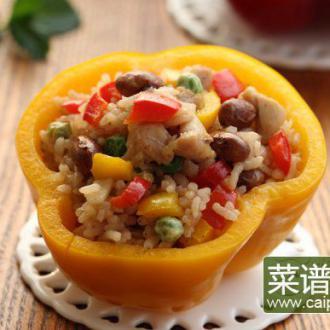 彩椒鸡丁红豆饭