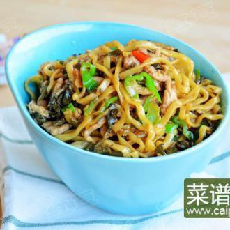 雪菜青椒肉丝炒面