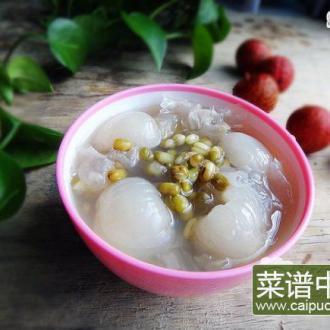 荔枝银耳绿豆汤