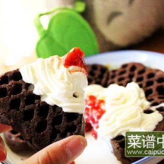 黑巧克力华夫饼