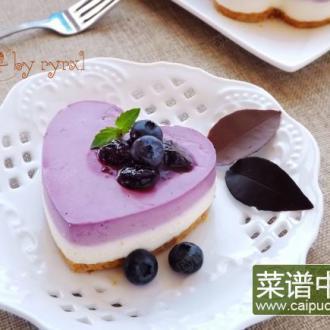 蓝莓双色冻芝士蛋糕