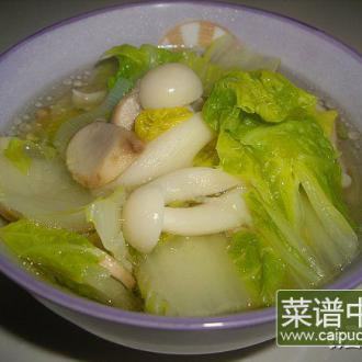 娃娃菜煲菌汤