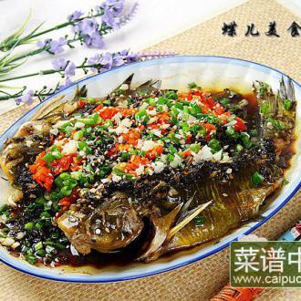 豆豉雪菜剁椒蒸嘎鱼