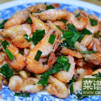 韭菜拌河虾