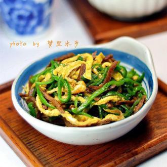 孔明菜炒青椒蛋丝