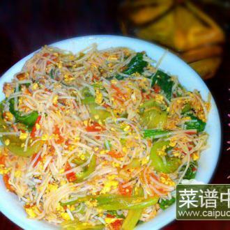 西红柿生菜炒粉干