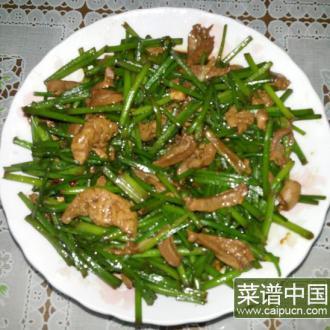 韭菜苔炒鸭心肝
