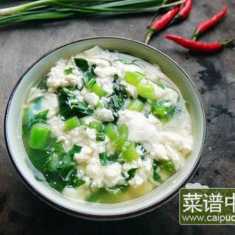 蒜泥豆花煮青菜