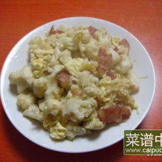 鸡蛋腊肠炒菜花