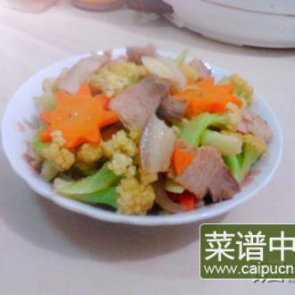 回锅肉炒花菜