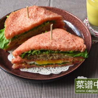 肉饼煎蛋红曲三明治