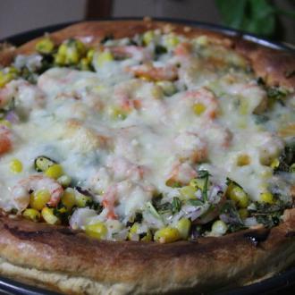 鲜虾玉米披萨