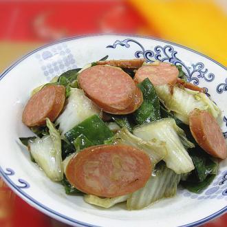 白菜梅豆炒肠