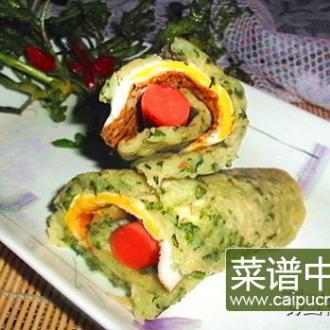 荠菜蛋卷饼