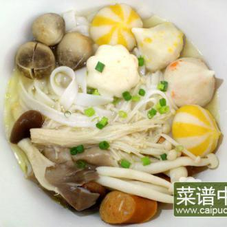什锦蘑菇肉丸汤河粉