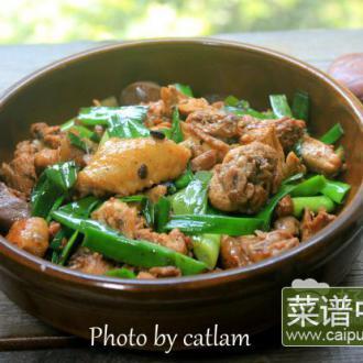 蒜苗豆豉炒鸡