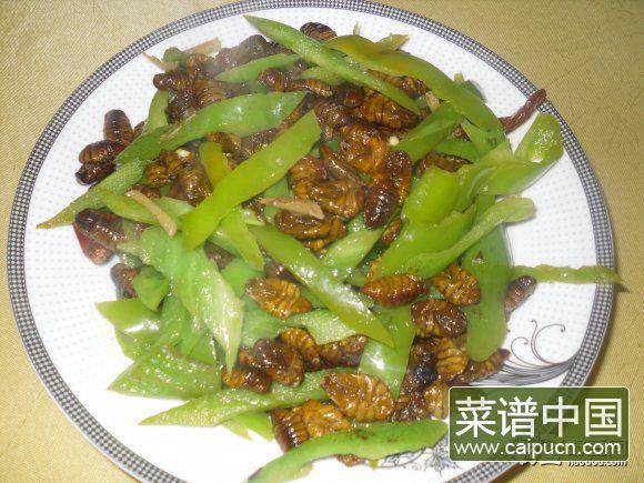 青辣椒炒蚕蛹