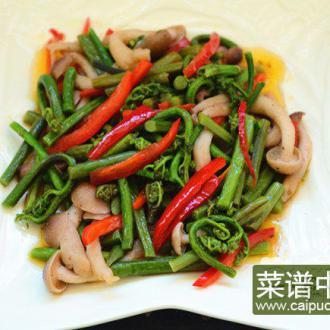 蕨菜素炒蟹味菇