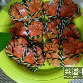 紫苏清蒸大闸蟹
