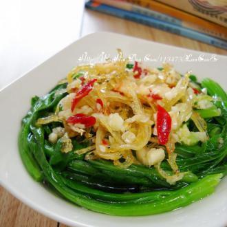 蒜香银鱼蒸菜心