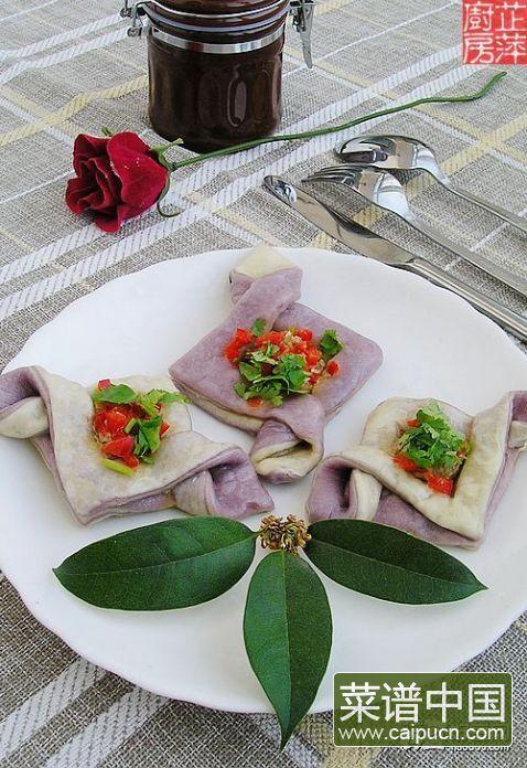 千层紫薯双色鲜肉饼