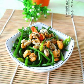 薄壳肉炒韭菜苔
