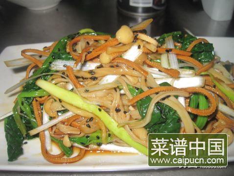 菠菜金针菇拌豆丝