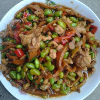 肉丝干子炒毛豆