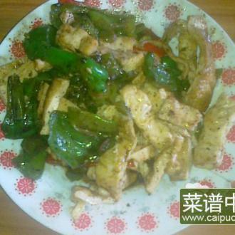 青红椒炒干子