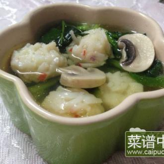 虾球蘑菇青菜汤