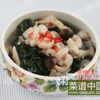 虾仁鸡汤煮红薯叶