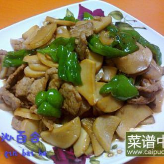 鲍菇炒肉片
