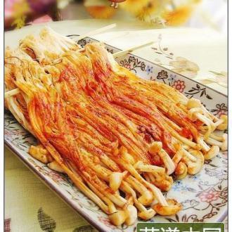 煎出烧烤味的金针菇