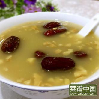 红枣核桃黄米粥