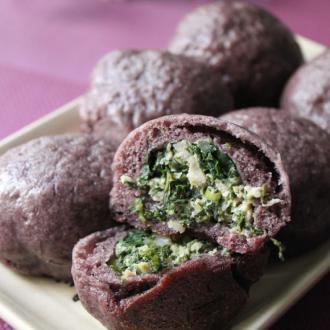 紫米荠菜水煎包