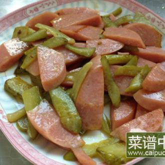 酸黄瓜炒火腿