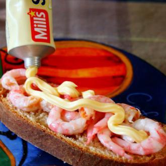 北极甜虾三明治#新鲜