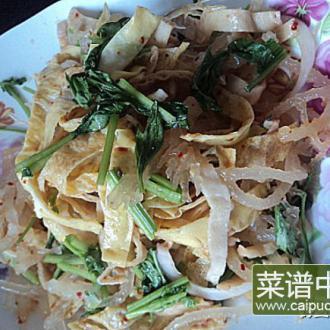 龙须菜拌豆腐皮