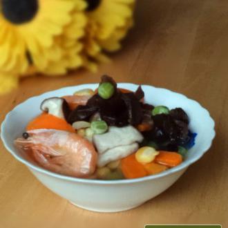 甜虾菌菇汤