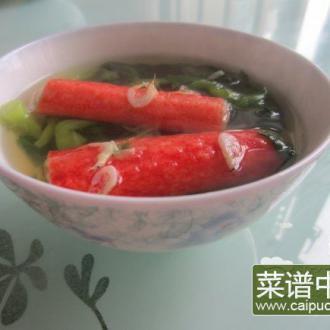 毛菜蟹棒虾皮汤