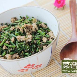 榄菜肉末炒豇豆