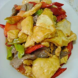 辣炒牛肉炸豆腐