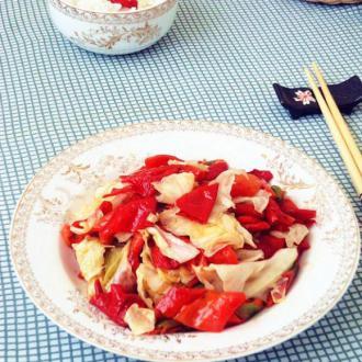 辣椒炒圆白菜