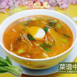 青菜绿豆芽年糕汤