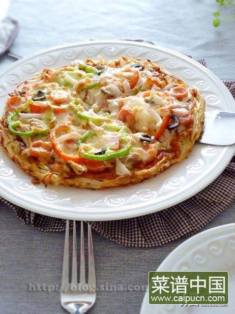 """金枪鱼披萨——土""""豆""""丝饼底"""