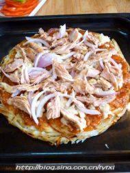 """金枪鱼披萨——土""""豆""""丝饼底的做法步骤15"""