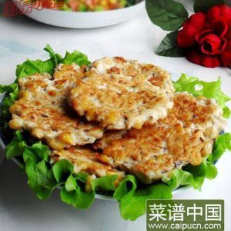 玉米香菇鸡肉饼